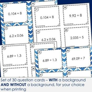 Decimal Operations Task Cards | Footloose Math Game & Problem Solving