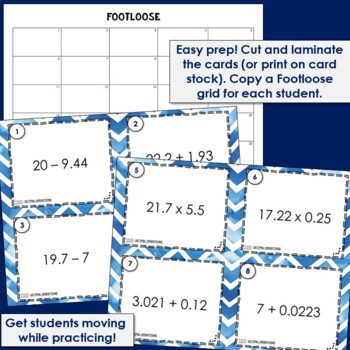 Decimal Operations Task Cards | Footloose Math Game & Problem Solving