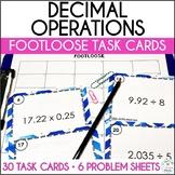 Decimal Operations Task Cards - Footloose Math Game & Problem Solving