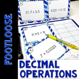 Decimal Operations Task Cards | Footloose Math Game & Prob