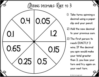 Decimal Operations Math Centers: Decimal Operations Spinner Games