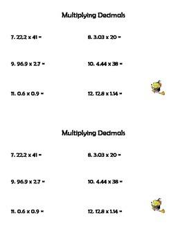 Decimal Operations Half Sheets