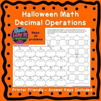 Autumn Decimal Operations Halloween Math Activity Adding & Subtracting Decimals