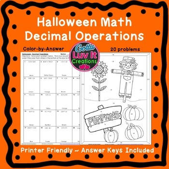 Halloween Math Activities Decimal Operations Color by Number & Maze