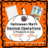 Halloween Math Activities Decimal Operations Color by Numb