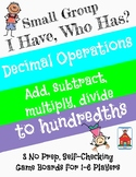 Decimal Operations 'I Have, Who Has?' Small Group Game