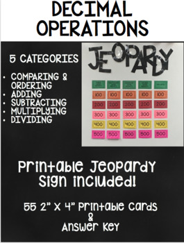 Decimal Operations Jeopardy Game