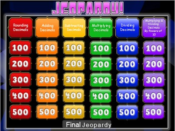 Decimal Operations Jeopardy Review Game! Elementary and Middle School Math
