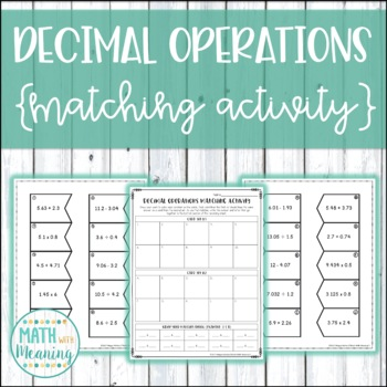 Decimal Operations Matching Activity