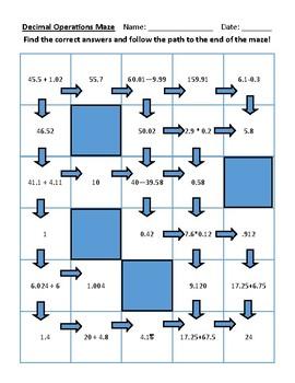 Decimal Operations Maze