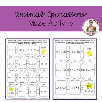 Decimal Operations Maze Activity