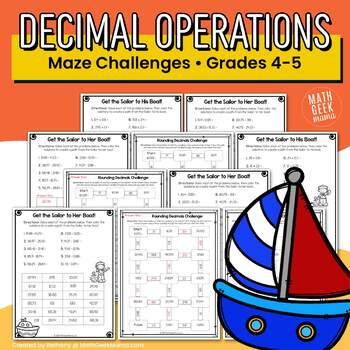 Decimal Operations Mazes (Includes 6 Maze Worksheets)