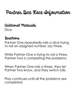 Adding, Subtracting, Multiplying, and Dividing Decimals Partner Game