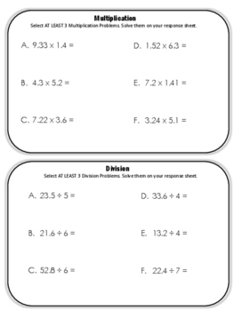 Decimal Operations Pick-N-Choose