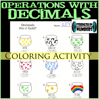 Decimal Operations Pot of Gold St. Patrick's Day Coloring Activity