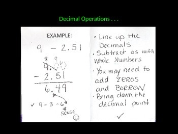 Decimal Operations How-To Powerpoint and Interactive Notebook Foldable