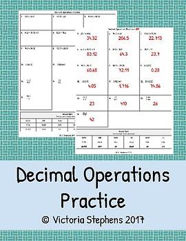 Decimal Operations Practice