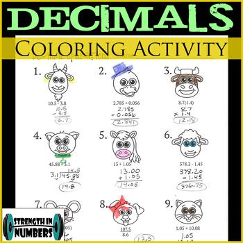Decimal Operations Practice - Coloring Activity