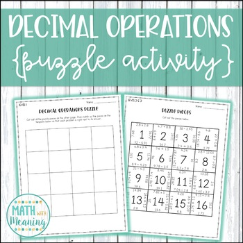 Decimal Operations Puzzle Activity - Add, Subtract, Multiply, and Divide Decimal