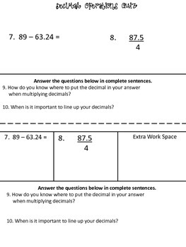 Decimal Operations Quiz