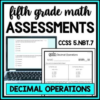 Decimal Operations Quiz, 5.NBT.7 Assessment, Includes Two