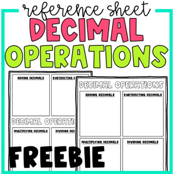 Decimal Operations Reference Sheet