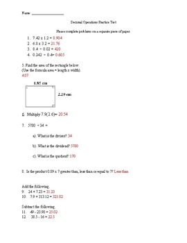 Decimal Operations Review/Practice Test