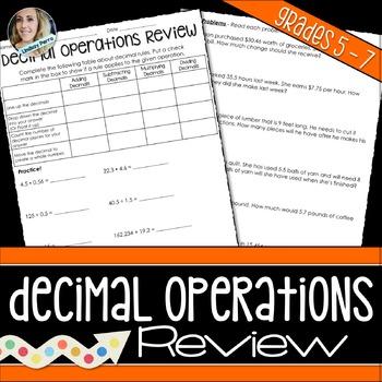 Decimal Operations Review Worksheet
