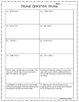 decimal operations review worksheet freebie by math with meaning. Black Bedroom Furniture Sets. Home Design Ideas