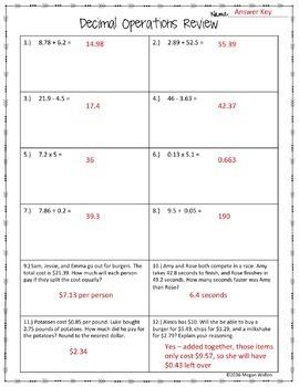 Decimal Operations Review Worksheet Freebie