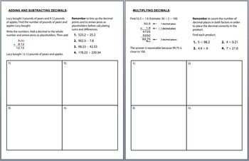 Decimal Operations Review and 2 Quizzes