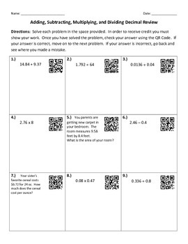 Decimal Operations Review with QR Codes