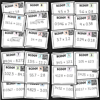 Decimal Operations SCOOT activity **BUNDLE** - with AND without QR Codes!