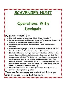 Decimal Operations: Scavenger Hunt