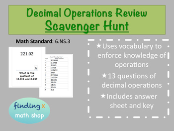 Decimal Operations Scavenger Hunt Review