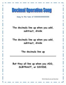 Decimal Operations Song