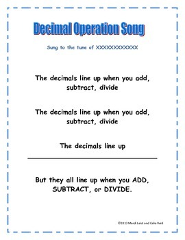 Decimal Operations Song