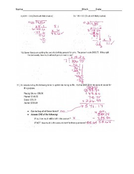 Decimal Operations: Study Guide/Answers/Test/Answers/Reflection