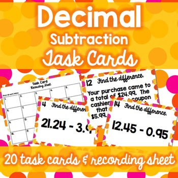 Decimal Operations Task Card Bundle (Add/Subtract/Multiply/Divide)