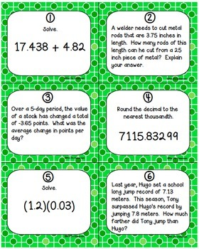 Decimal Operations Task Cards