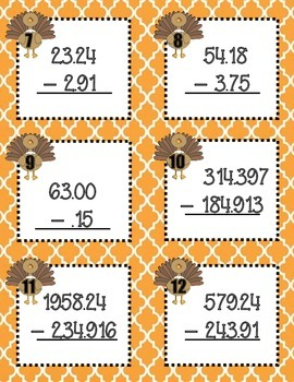Decimal Operations Task Cards-Thanksgiving