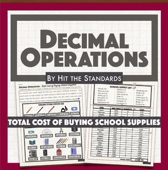 Decimal Operations Total Cost of Buying School Supplies math real life activity