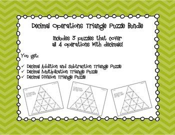 Decimal Operations Triangle Puzzle Bundle 6.NS.3