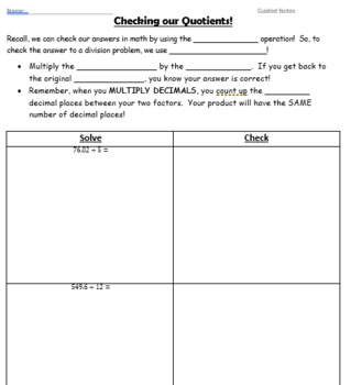 Decimal Operations Unit GUIDED NOTES