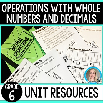 Operations with Whole Numbers and Decimals Unit Resources : 6th Grade