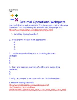 Decimal Operations Webquest