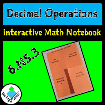 Decimal Operations foldable for Interactive Math notebook 6.NS.3