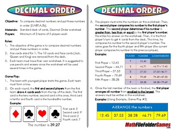Decimal Order - 5th Grade Game [CCSS 5.NBT.A.3b]