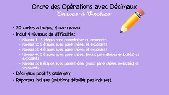 Decimal Order of Operations Task Cards- French Immersion