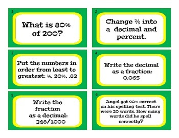 Decimal, Percent, Fraction Math Center Game, Grades 3-6